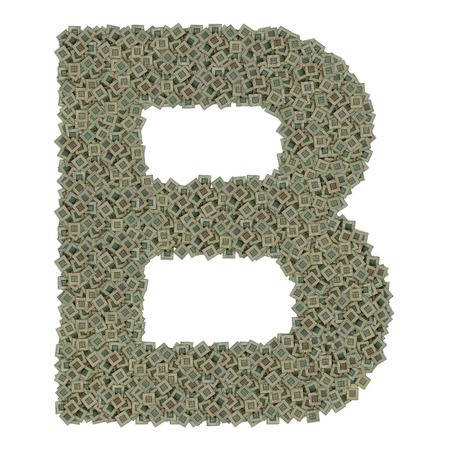 microprocessors: letter B made of made of huge amount of old and dirty microprocessors, isolated on white background Stock Photo
