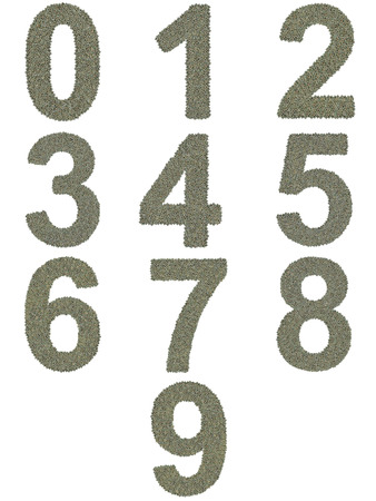 microprocessors: numbers from 0 to 9 made of huge amount of old and dirty microprocessors