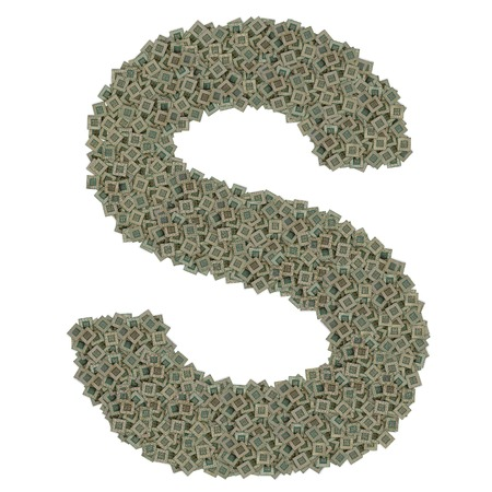 microprocessors: letter S made of made of huge amount of old and dirty microprocessors, isolated on white background