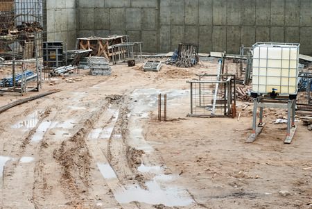 muddy: Construction site, muddy roads, rainy spring season