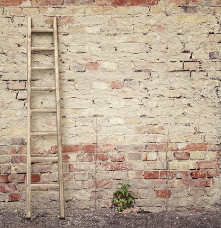 rungs: weathered stucco wall with wooden ladder background