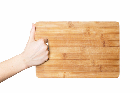 woman hand holding chopping board isolated on white background