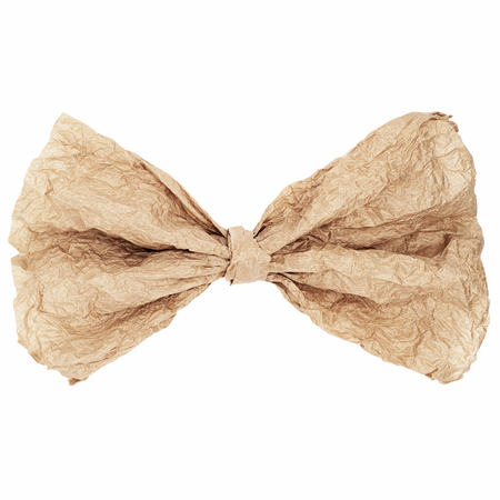 creasy: Vintage paper bow tie isolated onm white background Stock Photo