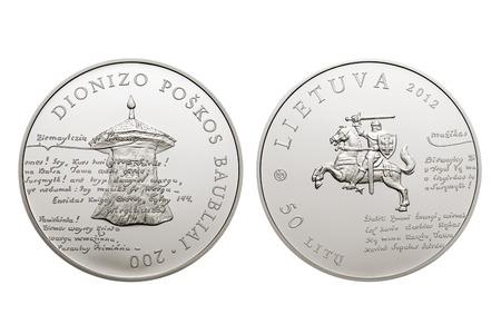 VILNIUS, LITHUANIA - CIRCA 2013:  50 litas coin dedicated to the 200th anniversary of Dionizas Poskas Baubliai
