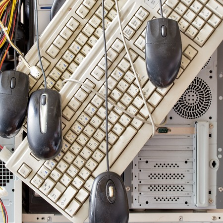 keyboard and mouse: dirty old computers, keyboard, mouse for electronic recycling Stock Photo