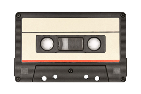 Vintage audio cassette tape isolated on white background
