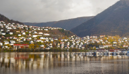 Colorful Landscape Of Norway, Bergen, mountain and foothill houses