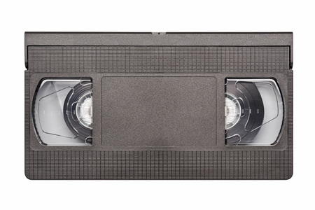 Retro black video cassette, front side isolated on white background