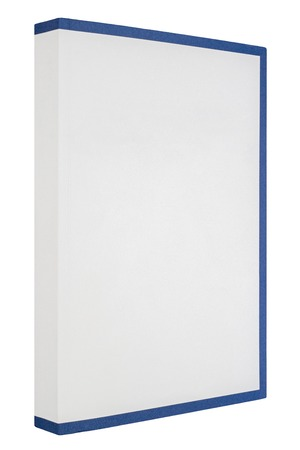 White book with blue frame around isolated on white background