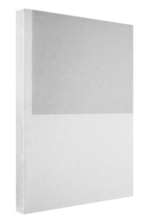 Grey book isolated on white, thin paper cover Stock Photo