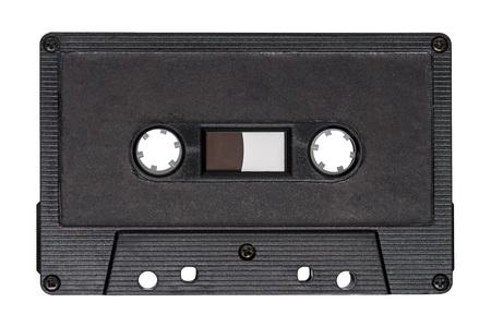 Retro black audio tape isolated on white background