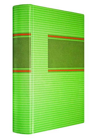 Green striped book isolated on white, dark frame for title on the spine and front Banco de Imagens