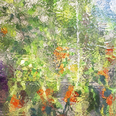 Stained glass abstract. Greenhouse vegetables reflection in window.