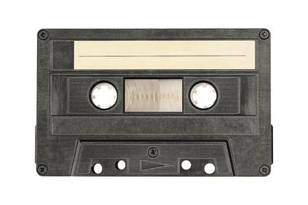 Retro black audio cassette tape isolated on white background