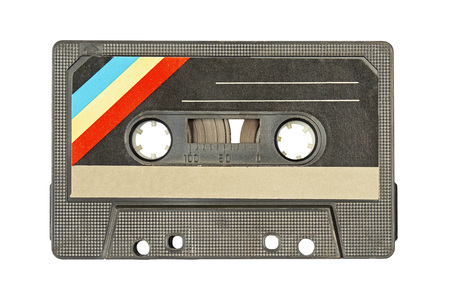 Retro black with colorful stripes in the left corner audio tape on white background
