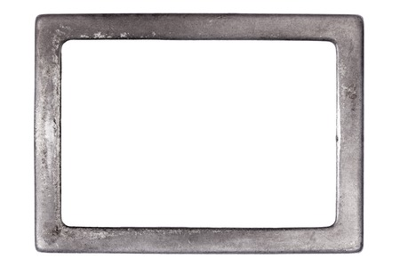 Grunge rusty metal frame with room for text on white background.