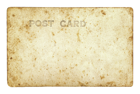 Old vintage postcard with a title POST CARD isolated on white background