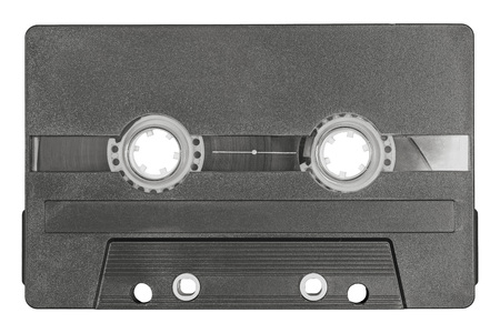 Retro black audio cassette tape isolated on white background