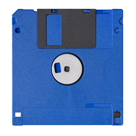 Standard blue floppy disk isolated on white background. Backside view.