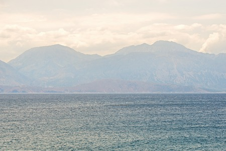 Sea in the morning, mountain landscape background Banco de Imagens