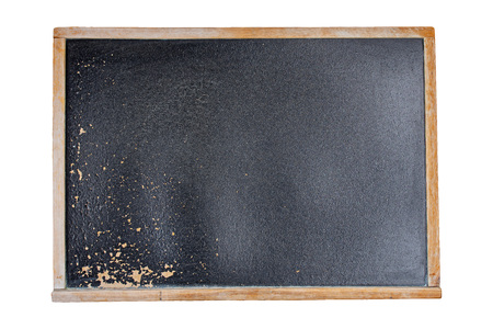 Blank vintage chalkboard isolated on white background