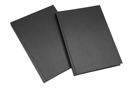 two black books isolated on white background, blank spines