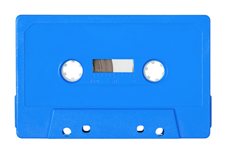 Retro bue audio tape isolated on white background Banco de Imagens