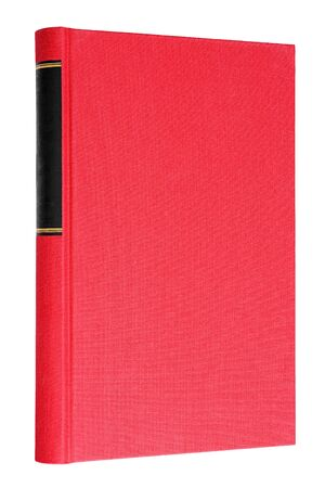 Red book with black frame on spine isolated on white background