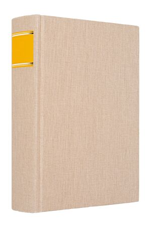 Grey book with yellow frame on spine isolated on white background