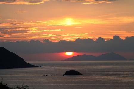 Colorful sunrise over the sea, Sai Wan, Sai Kung photo