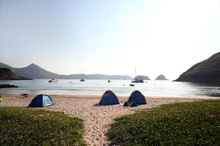 wan: Camp Site at Sai Wan, Sai Kung Stock Photo