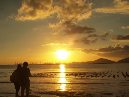 Lovers in Romanti Sunset, Yuen Long, Hong Kong photo