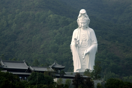 The statue of a Guanyin in a Tsz Shan Monastery of Tai Po, Hong Kong photo