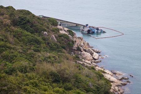 Shipwreck in Cheung Chau, Hong Kong