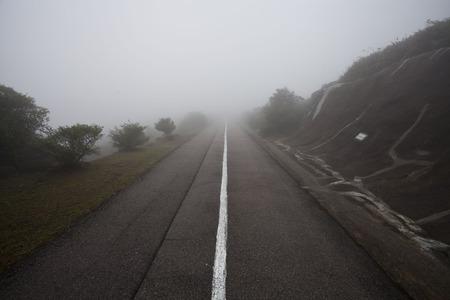 bewilder: Fog Weather in Tai Mo Shan, Hong Kong Stock Photo