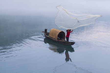 hunan: Fog weather in Dongjiangzhen River, Zixing, Chenzhou, Hunan China