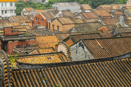 traditional chinese: Traditional Chinese Orange Color Roofs in Sanshui, Foshan, Guangdong