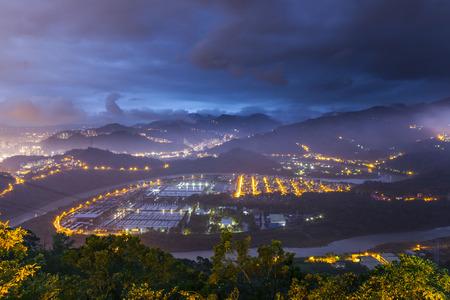 waterleiding: Night View in zhitan Waterwerken Station, Taipei