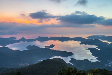 Sunrise in Yan Chau Tong Marine Park View from Tiu Tang Lung, Tai Po, Hong Kong photo