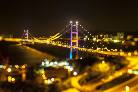night view at Tsing Ma Bridge, Hong Kong photo