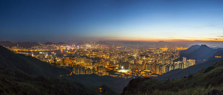 ngo: Panorama view Kowloon Peninsula Island at night from Fei Ngo Shan, Hong Kong