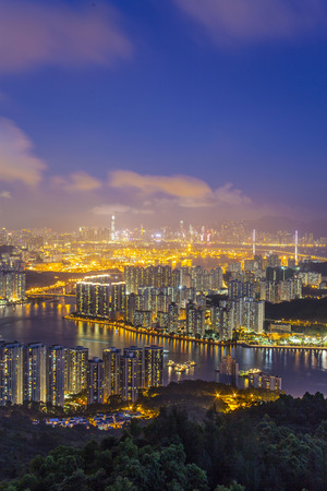 rambler: Sunset at Rambler Channel, Hong Kong Stock Photo