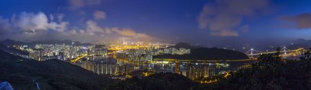 Panorama view of Rambler Channel Sunset view, Hong Kong