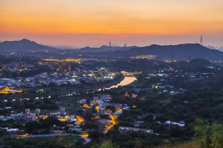 Sheung Yue River at sunset, Hong Kong