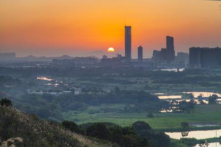 Sunset at Ma Tso Lung at North East New Territories, Hong Kong Stock fotó