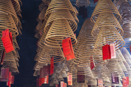 burns: chinese burns incense at Chinese Temple