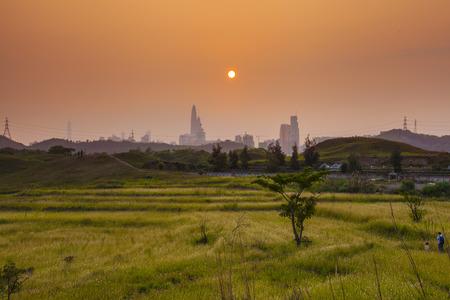 rural development: Sunset at North East New Territories, Hong Kong Stock Photo