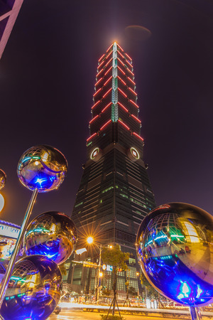 metal ball: The Statue of Modern Metal Ball in Taipei City Editorial