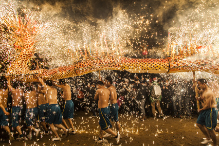 Fire Dragon Dance at Fengshun County in Guangdong