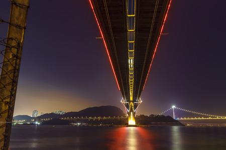 ting: Ting Kau Bridge at night time